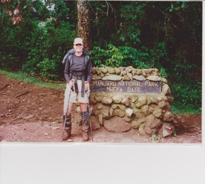 Evelyn Kalinosky at the end of her Mt. Kilimanjaro, Africa climb. July 2000.